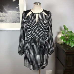 Parker Fisher Combo dress 100% silk Houndstooth S